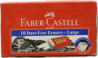 Faber Castell Dust-Free Large Eraser Set - Pack of 10 (White)