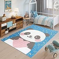 TAPISO Jolly Tapis de Chambre Enfant Bébé Design Moderne Bleu Blanc Rose Gris Panda Jeu Fin Doux Résistant 80 x 150 cm