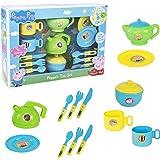 HTI Zabawki oficjalny zestaw sztućców z świnką Peppa | zawiera czajniczek, dzbanek, miskę, spodki i inne | Zabawny zestaw dzb