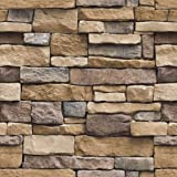 Arthome Sticky Back Plastic Roll Stone Brick Self Adhesive Wallpaper,Furniture Stickers Brick Effect Contact Paper,Waterproof