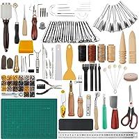 Peirich Trousse d'outils de travail du cuir de 356 pièces, outils et fournitures de travail du cuir, outils d'estampage…