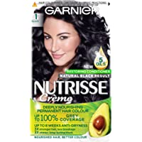 Garnier Nutrisse Creme Black Hair Dye Permanent, Up to 100 Percent Grey Hair Coverage, with 5 Oils Conditioner - 1.0 Black