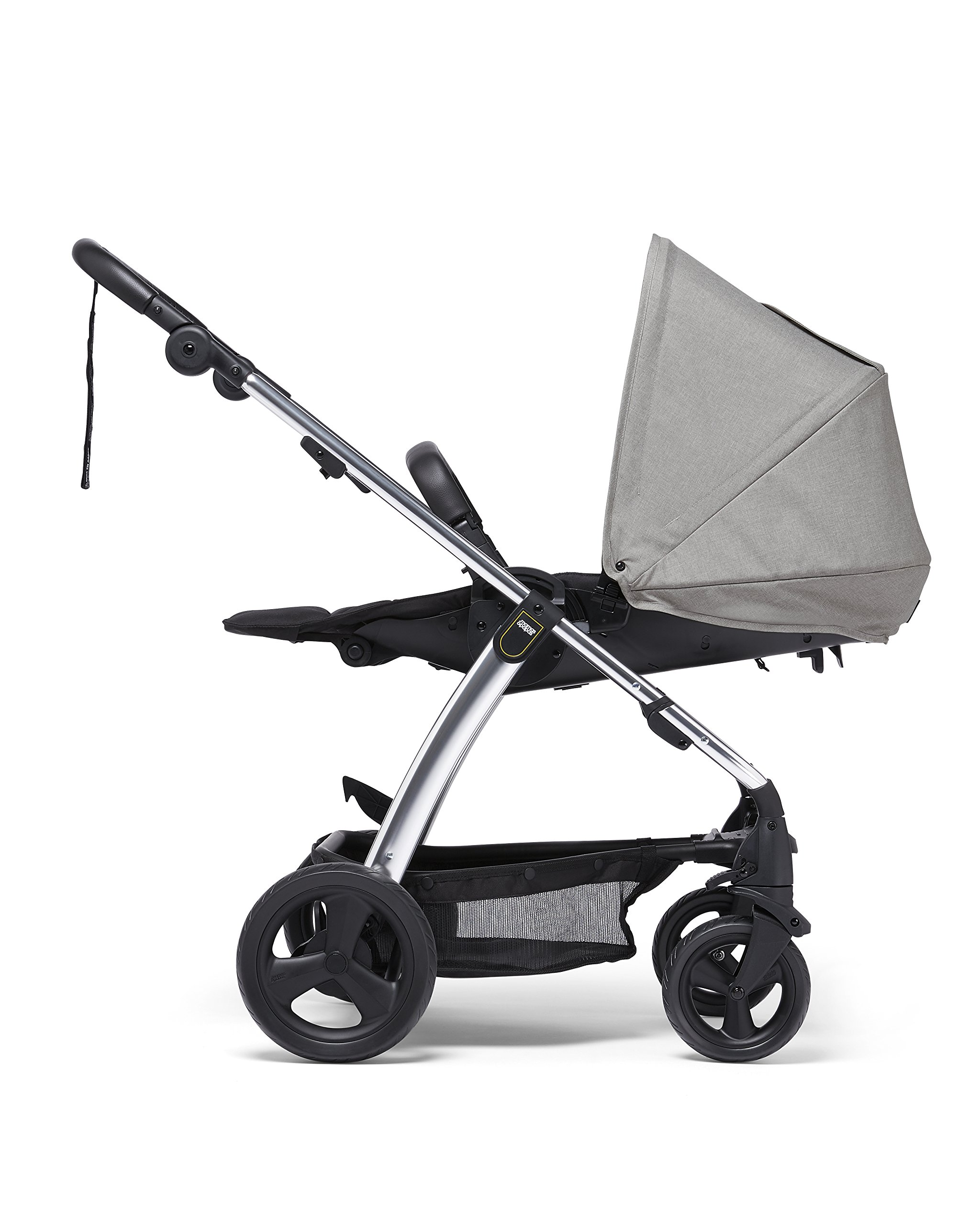 Mamas & Papas Sola² Lightweight Pushchair with Dual Position Seat, Compact Fold & Dual Suspension Wheels - Light Grey Mamas & Papas Great stearability - front and rear suspension wheels ensure a smooth ride for baby's travels. The wheels are also lockable for your peace of mind Large canopy - the large upf 50+ hood protects against harmful rays and a magnetic window lets you check on baby. Attach the included rain cover for drizzly days Dual position - baby can face you or the world to suit them. Adjust the seat to the lie-flat position for a comfortable space for your little one to sleep 4