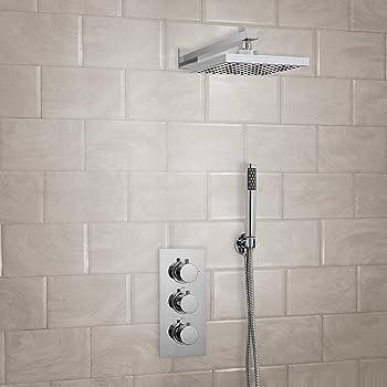 Häufig ENKI Unterputz-Duscharmatur Thermostat Rund 3 Wand Kopfbrause SR05