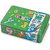 Carioca Box |42736/04 - Caja de Lata Verde con 100 Rotuladores Superlavables con Punta Fina y Maxi y Álbum para Colorear