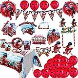 Ladybug Suministros para Fiestas Niñas Cumpleaños Decoración Vajilla Kit Incluido Pancarta Globos Paquete de Regalos para 10