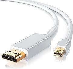 CSL - Mini Displayport auf HDMI Kabel 5m | inkl. Tonübertragung | Kompatibel mit Thunderbolt 1 und Thunderbolt 2 Ports | Full HD HDTV 1080p | Zertifiziert | Apple/Lenovo / Surface | weiß
