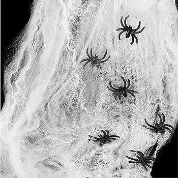 Ragnatele di Halloween, WEBSUN Spider Web con 25 falchi Ragni Neri per Decorazioni di Halloween Indoor and Outdoor