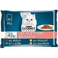 GOURMET - Les Filettines en Sauce : Bœuf, Poulet, Lapin, Saumon - 4x85g - Lot de 12