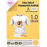 TransOurDream Tru-Transfer Paper for Light Fabric Inkjet 20 Sheets A4 Iron on Heat Transfer Paper for T Shirt Printing Paper