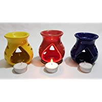 Pure Source India Ceramic Oil Diffuser Set of 3 (Multicolor)