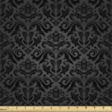 Ambesonne Dark Grey Fabric by The Yard, Black Damask and Floral Elements Oriental Antique Ornament Vintage, Decorative Fabric