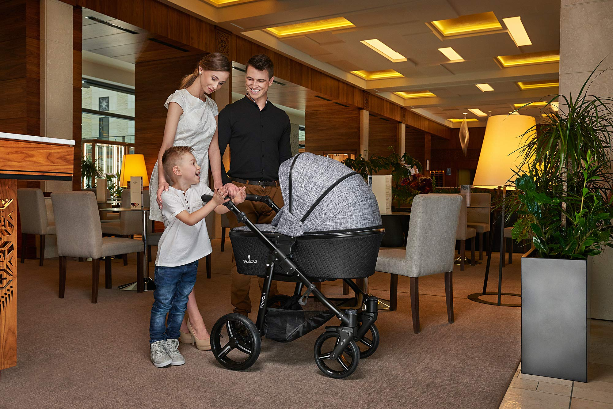 Venicci Shadow 2-in-1 - Fashion Black Travel System Venicci Also includes: Changing bag, Apron, Rain cover, Mosquito Net, Cup holder Carrycot: L 102cm W 61cm H 112 cm Age suitability: From birth to 6 months Seat unit: L 95cm W 61cm H 112cm Age suitability: From 7 to 36 months 2