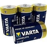 Varta Longlife Pilas Alcalinas D/ Mono/ LR20, Pack X4, Amarillo