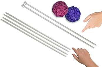Knitting needle - no 10 single sided, dia - 3mm, length - 25 mm, pair of 2 and no 11 double sided, dia - 3mm, length - 25 mm, pair of 4, aluminium, for making woolen artefacts like sweaters, muflers, caps