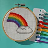 Rainbow Cross Stitch Kit With Hoop - Beginners Counted Cross Stitch - Needlework Kit