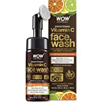 WOW Skin Science Brightening Vitamin C Foaming Face Wash with Built-In Face Brush for Deep Cleansing - No Parabens…
