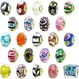 TOAOB Silber Glasperlen European Perlen Anhänger für Charms Schmuckarbeiten Armbänder Halsketten Packung mit 10 Stück