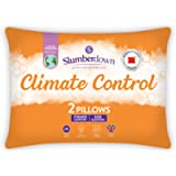 Slumberdown Climate Control White Pillows 2 Pack Firm Support Bed Pillows Designed for Back and Side Sleepers