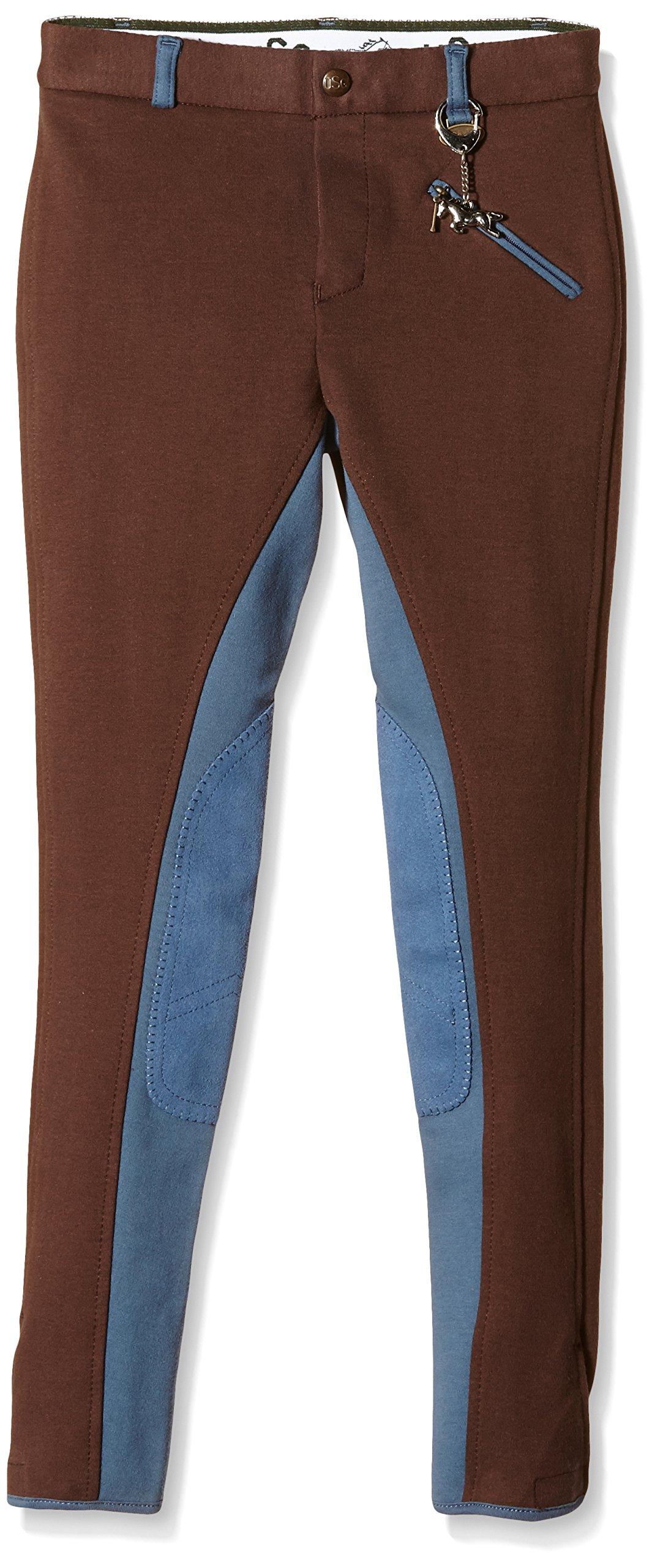 USG United Sportproducts, Pantaloni da equitazione Bambino Miley, Marrone (Braun/Rauchblau), 134 cm