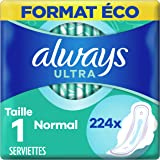 Always Ultra, Serviettes Hygiéniques Normal, Taille 1 avec Ailettes, Super absorbantes et Ultra Fines, Format Eco x224 (16 pa