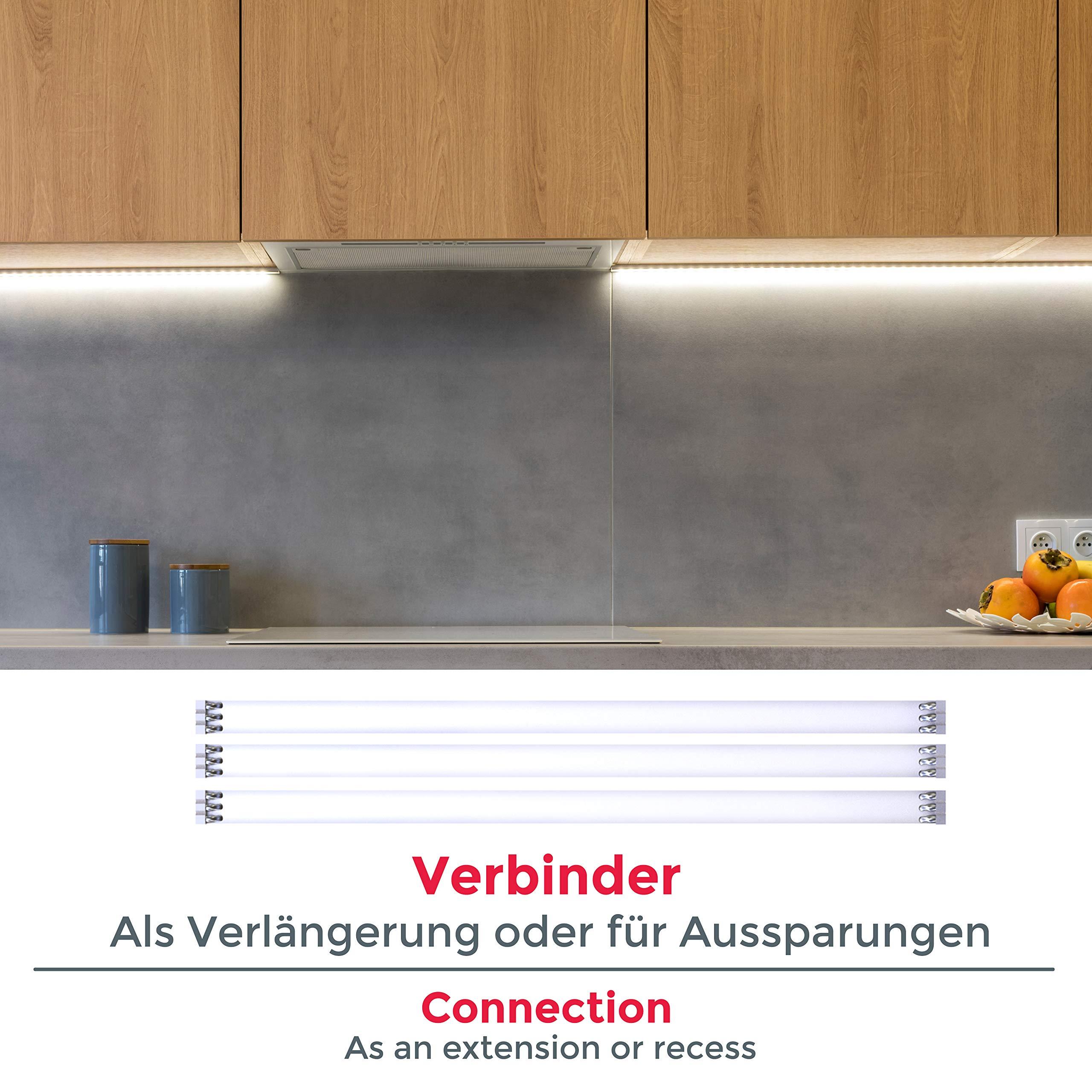 Striscia LED 2m, set di 4 pezzi da 50cm, Luce bianca naturale 4000k,  Include connettori, interruttore e spina europea, uso interno,  Accorciabili, ...