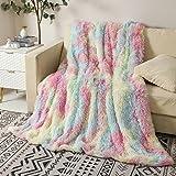 Faux Fur Throw Blanket, 160 X 200 cm Fluffy and Warm Fleece Blankets for Bedroom, Bed, Sofa (Rainbow)
