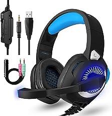 Gaming Headset für PS4,3.5mm Surround Sound mit Kabel Headset mit Mikrofon, Buntes LED-Licht, Gaming Kopfhörer Spiel Headset mit Mikrofon für PC Xbox One,Laptop, Mac, Tablet, PC, Smartphone (Blau)