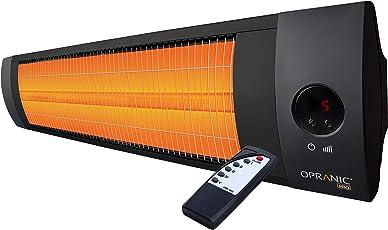 OPRANIC PRO - LAVA Infrarot Heizstrahler, Perlschwarz, Fernbedienung, 2300 Watt, 5 Stufen Dimmer, Infrarotstrahler, IPX4, Hochleistungs Terrassenstrahler Elektrisch, Höchste effizienz mit langer Lebensdauer