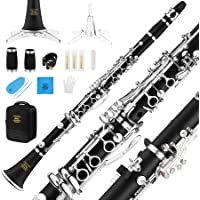 Eastar Bb Clarinet Silver plated Commander Ebonite B Flat Clarinet 17 Key with Grease,Cleaner,Gloves,Stand,Reeds and Hard Case(ECL-400)