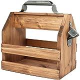 COM-FOUR® Portabidón de madera con abrebotellas de metal y asa de metal - Cajas de madera para 6 botellas à 0,33 l - Portavas