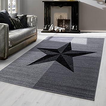 Amazon.De: Modern Designer Teppich Für Wohnzimmer Kariert Stern
