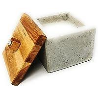 WOWOCON | 15x15x11cm | Betonfeuer | Kerzenfresser | Wachsfresser mit Dauerdocht | Tischfeuer mit Wachsresten zum…