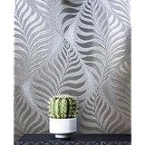NEWROOM bloemenbehang behang grijs zilver bladeren takken bloemen papier behang grijs papier modern design look behang bloeme