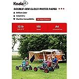 KOALA Papel Fotográfico de Doble cara Brillante para Inyección de Tinta A4, 120 g/m², 100 hojas. Adecuado para imprimir Fotos