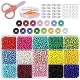 FUNNY HOUSE Mini glaskralen 3mm 7500 stuks DIY armband kunst en sieraden maken, kralen om te rijgen parelsnoer Making Set (15