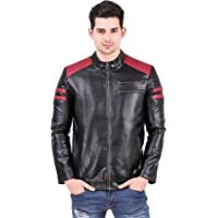 Leather Retail® Padding Design Black Faux Leather Jacket for Man