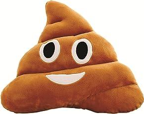 Skylofts Soft Smiley Emoji Dark Brown Poop Cushion Pillow Stuffed Plush Toy Doll ( 35cm Happy Emoji) (Laughing Emoji)