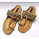 Enhara Rustic Gold Beige Sandals Boho Kolhapuri Chappals/Leather Sandals for Women/Handmade Slides/Ethnic Indian Flip…