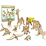 ButterflyEduFields 3D Animals Puzzles for Kids 10 Wildlife Wooden DIY Animals Toys for Kids Set 3 Years+ Boys & Girls   STEM