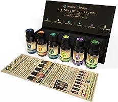 Set di oli essenziali biologici certificati USDA, 100% oli terapeutici per aromaterapia, menta piperita, arancia dolce,...