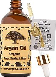 R&M Arganöl Bio kaltgepresst – Marokkanisches Fair Trade Öl für Haare, Gesicht, Nägel und Lippen, sowie gegen Narben und Pick