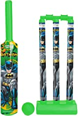 Zitto Batman Medium Cricket Set with 1 Plastic Bat and Ball, 3 Wickets, Base and Bail