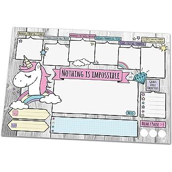 Schreibtischunterlage UNICORN, DIN A3 mit Einhorn-Motiv aus Papier, 25 Blatt Schreibunterlage zum Abreißen (30 x 42 cm) für Kinder und Erwachsene mit Wochenplaner, Tagesplan, To-Do-Liste, Notizfeldern