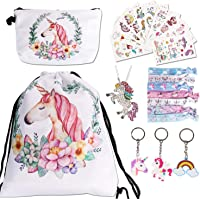 URAQT Sacca per Bambine Unicorno, Sacche Unicorno Bambina con 22 PCS Accessorie, Coulisse Zaino e Unicorno Regali per…