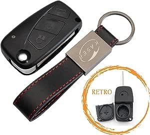 Phonillico Car Key Replacement For Fiat 500 Bravo Ducato Doblo Panda Punto Stilo Ulysse Flip Keychain with 3 Buttons Blade Black Model