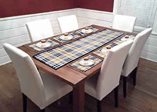 BHALLA COLLECTIONS 6 Seater Dining Table Runners with Placemats