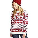 Donne Reindeer Fiocco di neve Bambini Xmas Madre Figlia Figlia 3-13 anni Jumper Top Dimensione 8-26