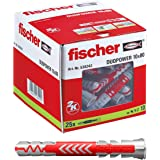 fischer DUOPOWER 10 x 80-universele pluggen voor het bevestigen van hangkasten, wandplanken in beton, metselwerk, plaatbouwma