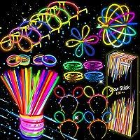 Kimimara Braccialetti Luminosi, Starlight Fluorescenti,100 Glowsticks Party con 122 Connettori per Creare Bracciali e…